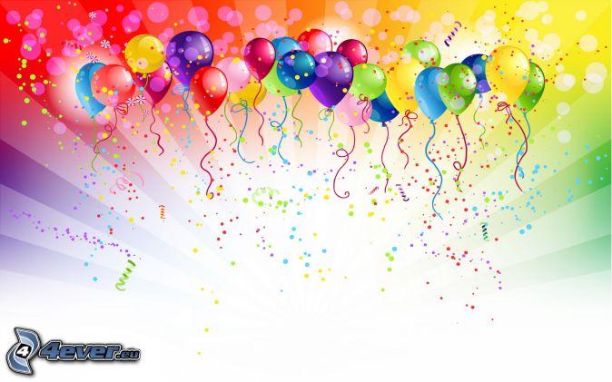 Luftballons, farbiger Hintergrund, farbige Kugeln