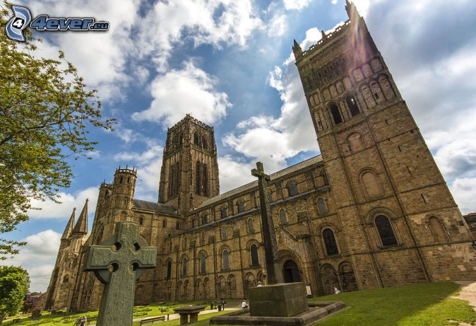 Kathedrale von Durham, Wolken, Kreuz