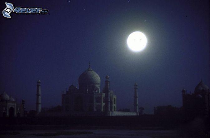 Taj Mahal, Nacht, Mond