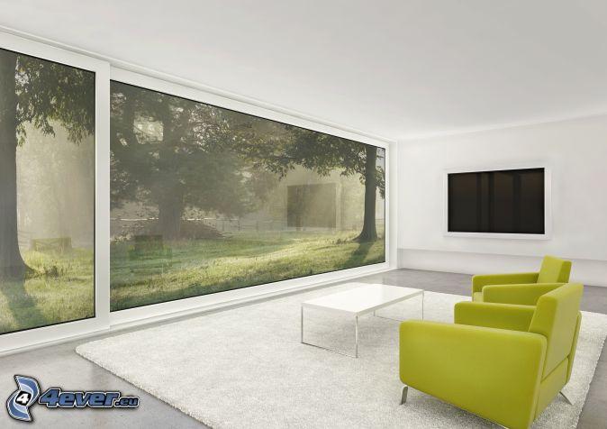 Wohnzimmer Armsthle Fenster Aussicht
