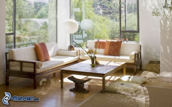 Wohnzimmer Couch Vorm Fenster Tisch
