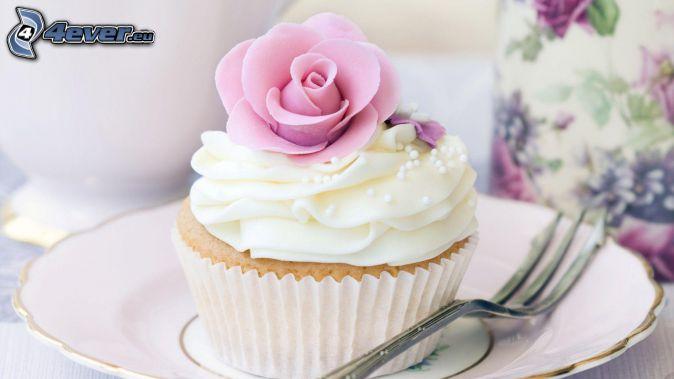cupcakes, Gabel, Schlagsahne, rosa Rose