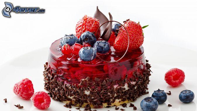 Kuchen, Gelees, Beeren, Erdbeeren, Blaubeeren, Himbeeren