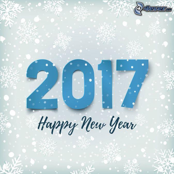 2017, glückliches Neues Jahr, happy new year, Schneeflocken