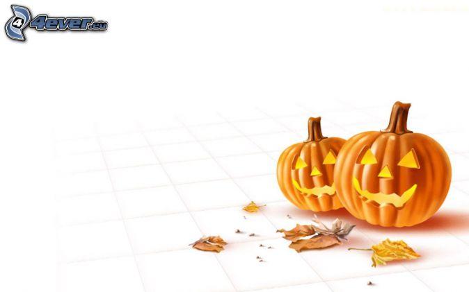 Halloween-Kürbisse, Herbstlaub