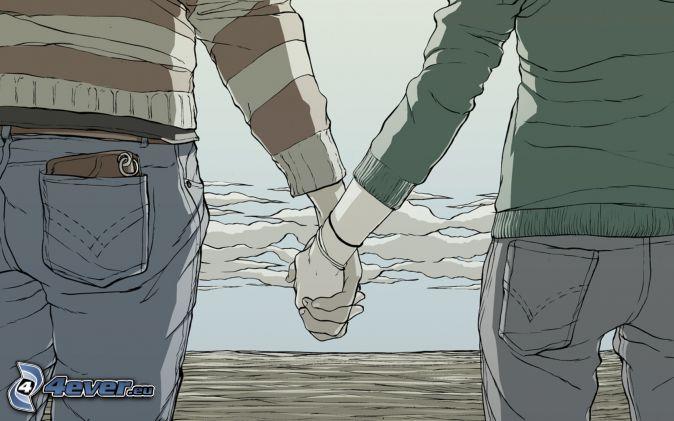 gezeichnetes Paar, halten sich die Hände