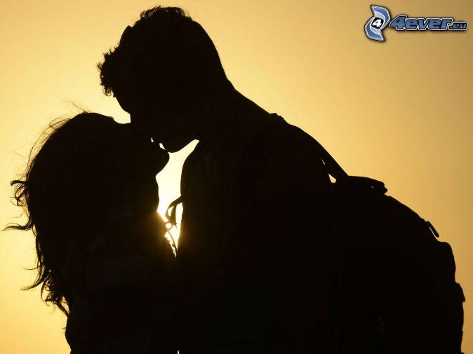 Silhouette des Paares, Mund, Sonne