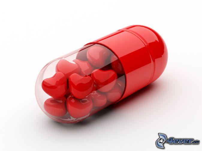 Pille roten herzen
