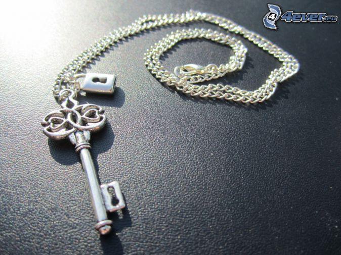 silber Anhänger, Schlüssel, Halskette