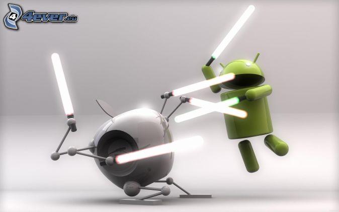 Apple, Android, Lichtschwert, Kampf