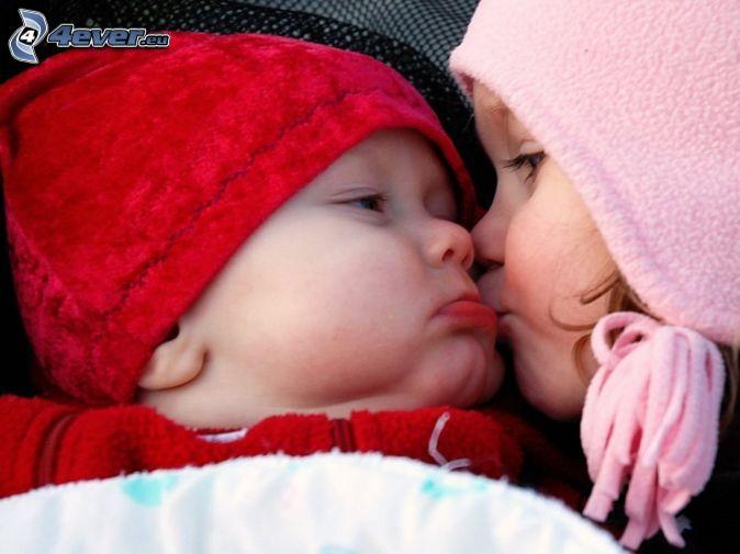 Junge und Mädchen, Kuss