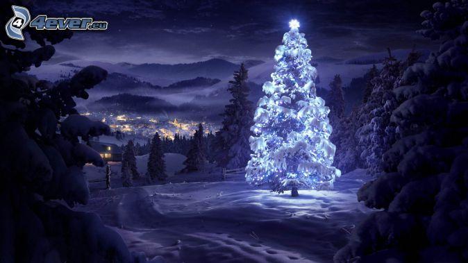 beleuchtet Baum, Nacht, Tal, City, verschneite Landschaft