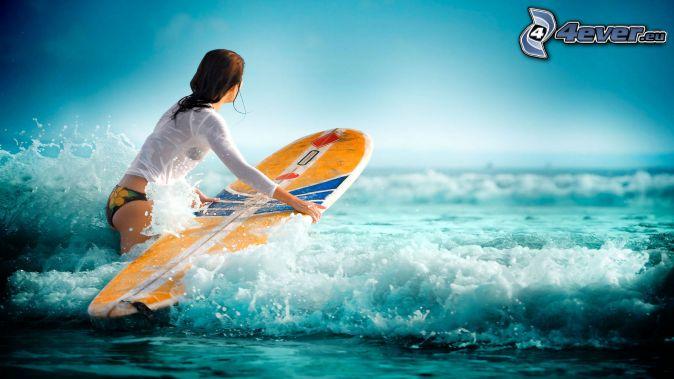 Surfen, Wellen, Frau im Meer