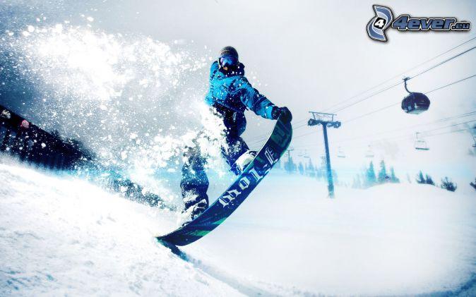 snowboarding, Schwebebahn, Schnee