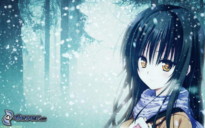 Anime mädchen verschneiter wald