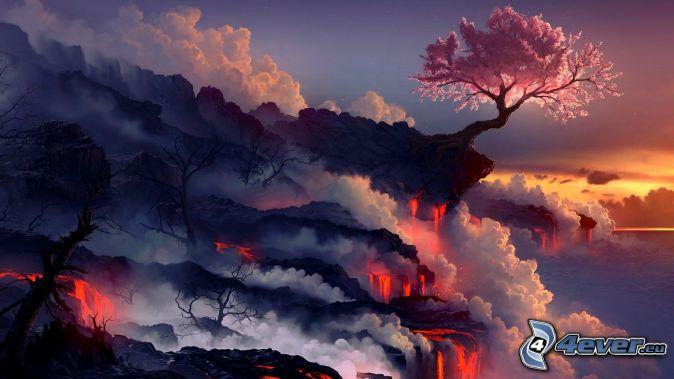 Fantasie-Land, rosa Baum, Lava, Dampf