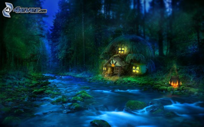 Hütte, Wald, Fluss, Nacht