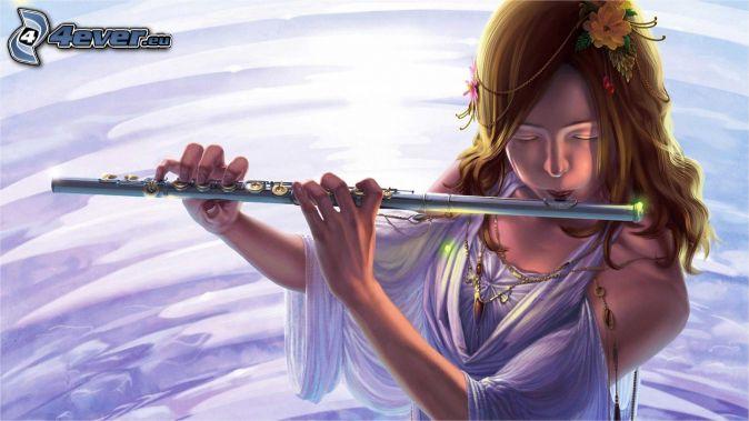 Flöte spielen, Cartoon-Mädchen