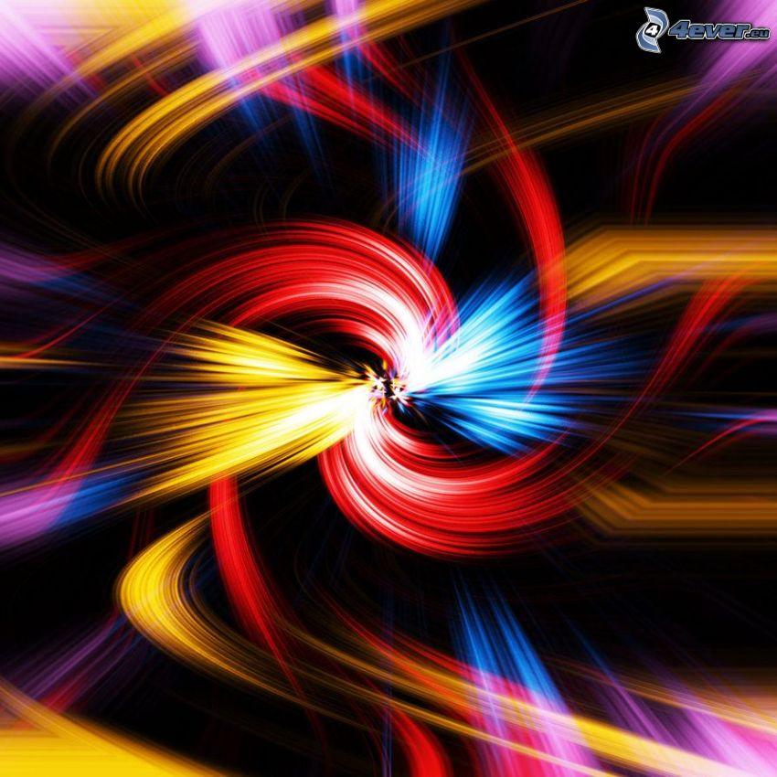 abstrakte Blume, farbige Linien