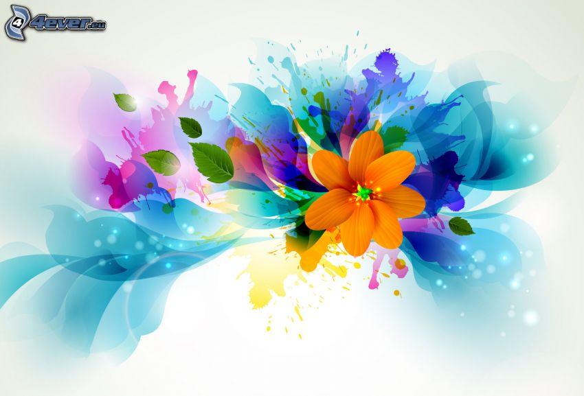 abstrakte Blume, Kleckse