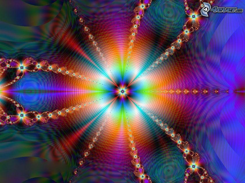 abstrakte farbige Linien, Fraktal, mandala
