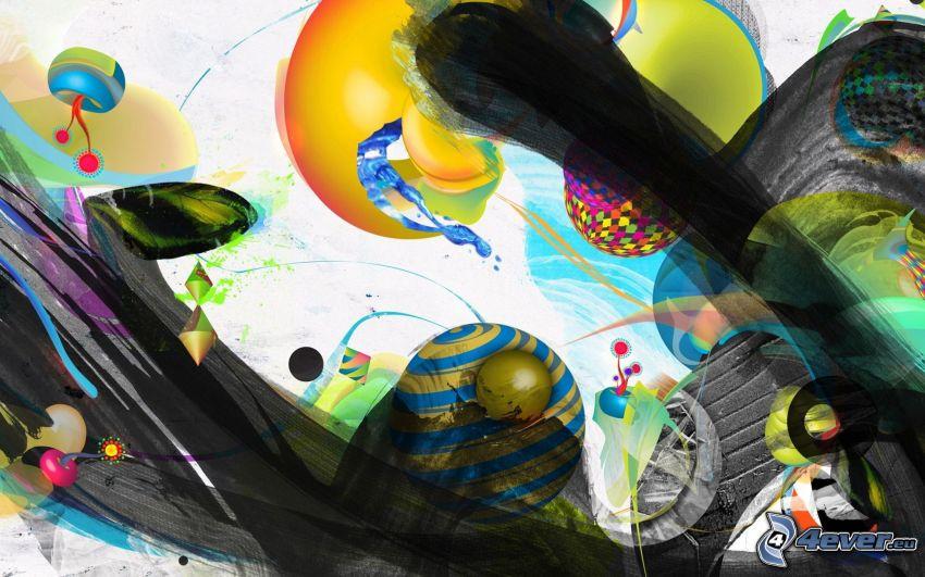abstrakter Hintergrund, abstrakte Kugeln, Linien