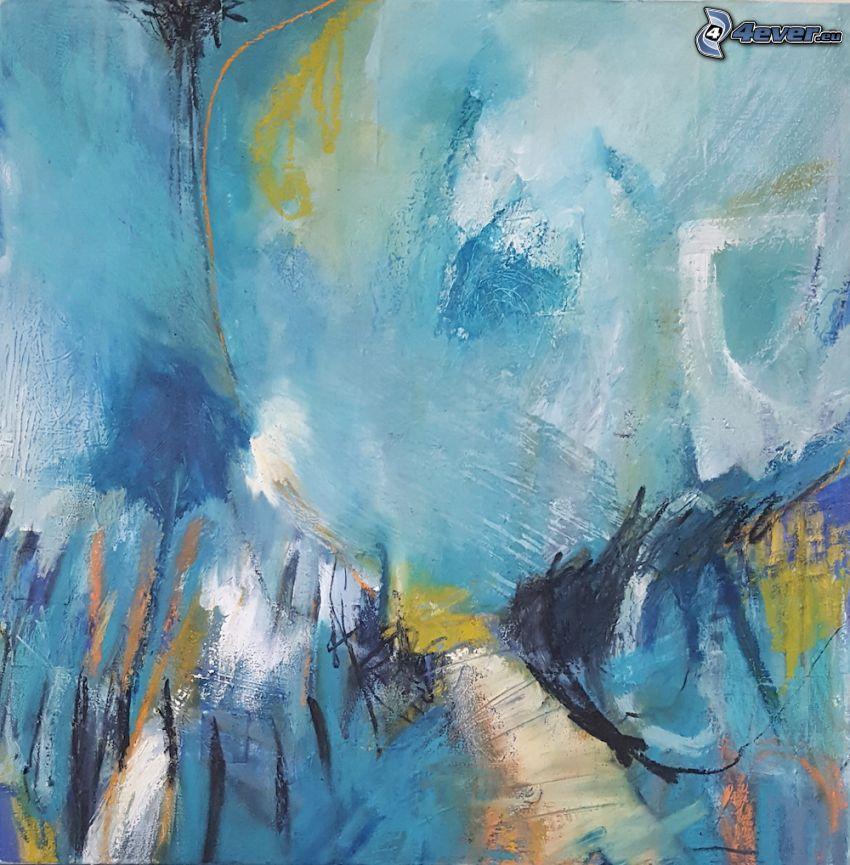 blauer Hintergrund, farbige Kleckse