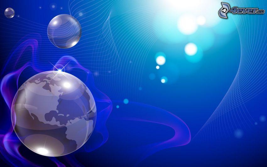 Erde, Ringe, Kugeln, blauer Hintergrund