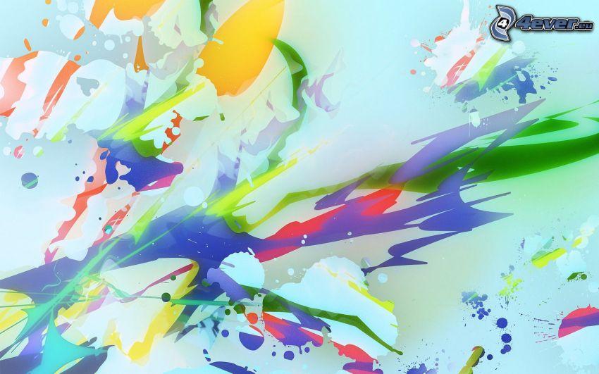 Farben, Kleckse, farbiger Hintergrund