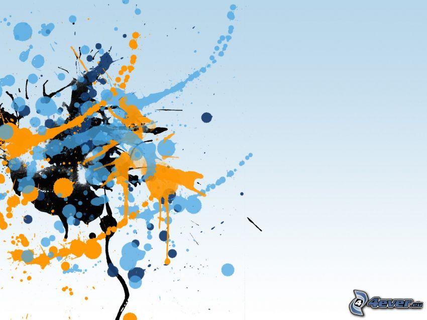farbige Kleckse, blauer Hintergrund