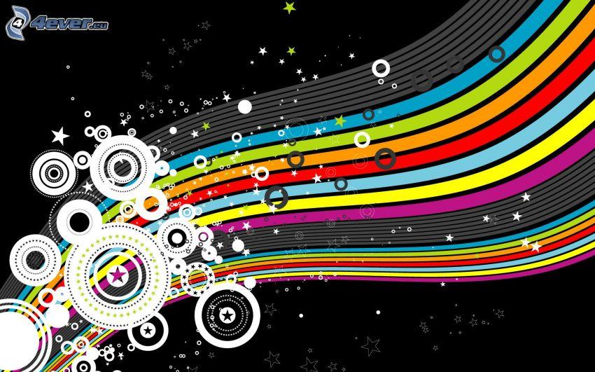 farbige Linien, Kreisen
