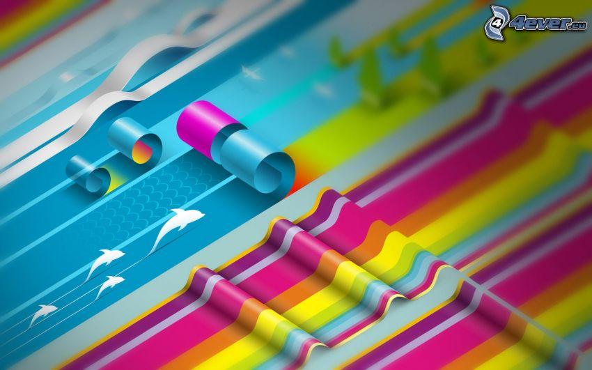 farbige Linien, Wellen