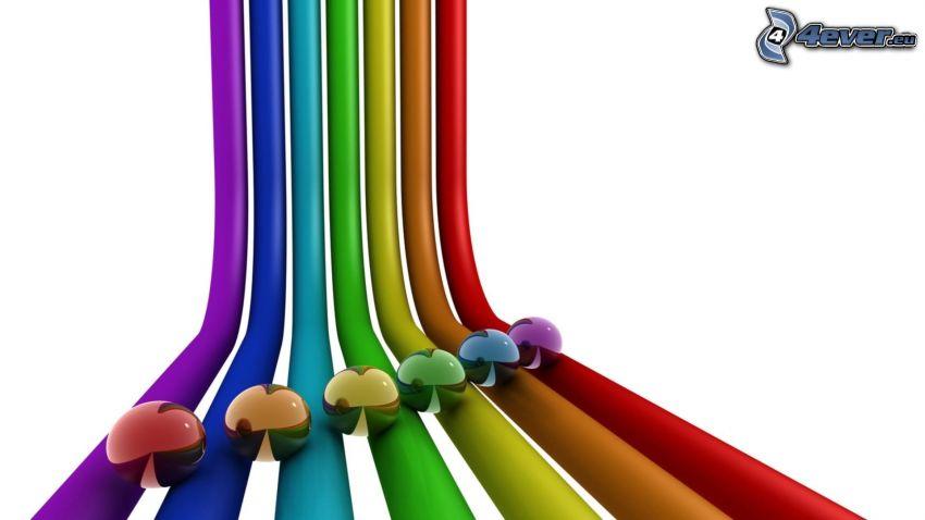 Farbstreifen, farbige Kugeln