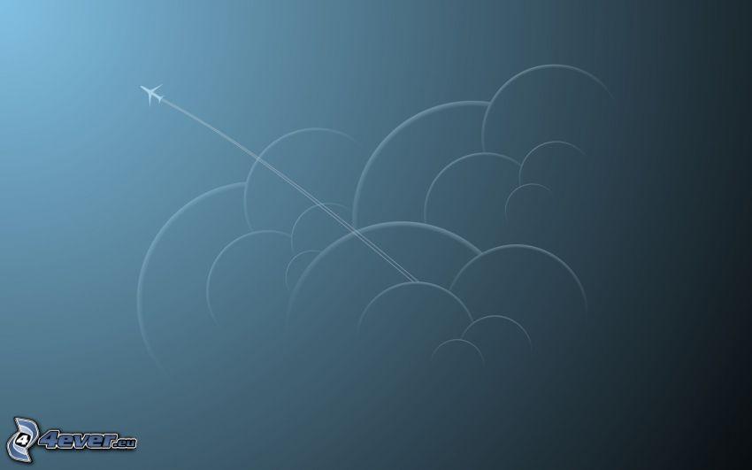 Flugzeug, Kreisen, Wolken, kondensstreifen