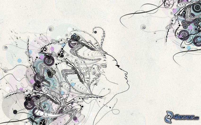 Gesicht, Kreisen, abstrakte Formen