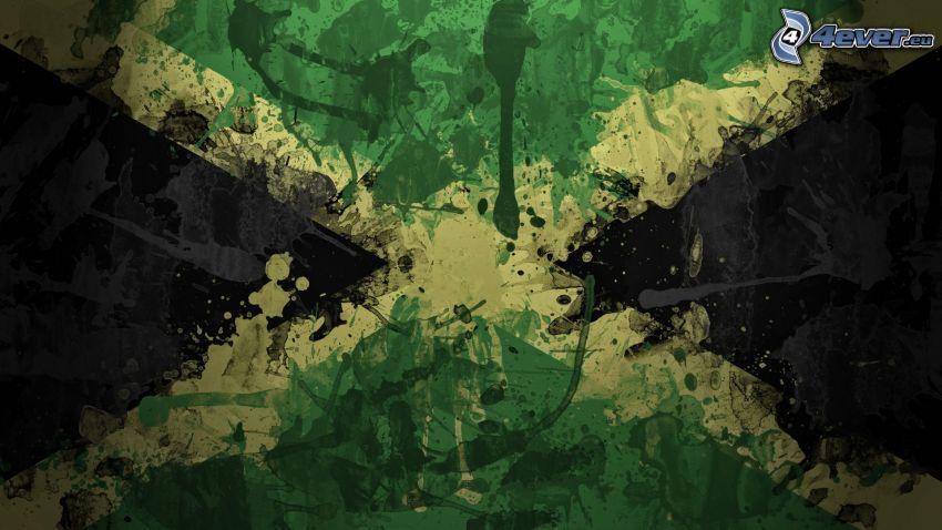 Jamaika, Flagge, Kleckse