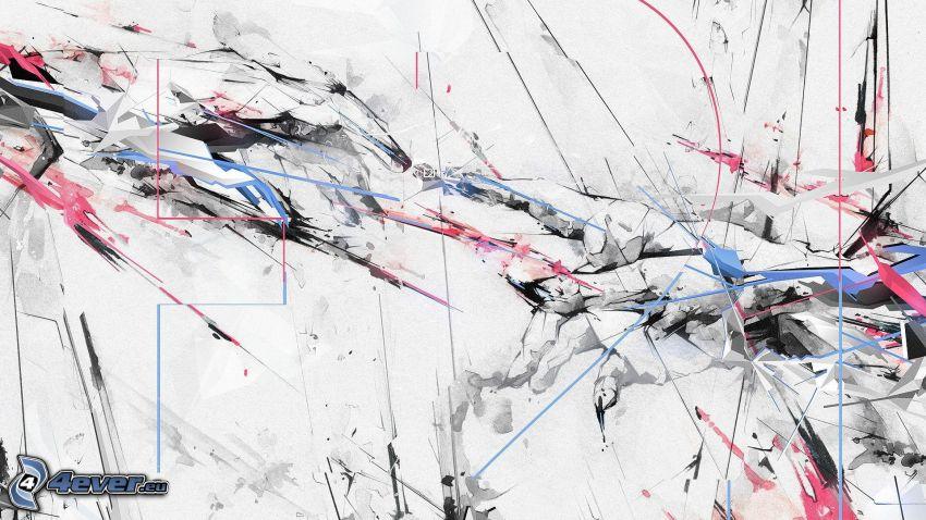 Kleckse, farbige Linien
