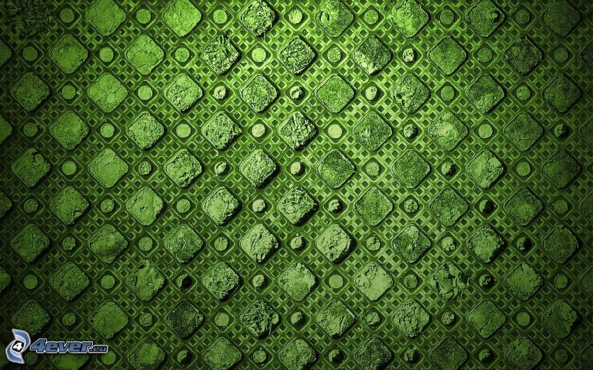 Quadrate, grüner Hintergrund