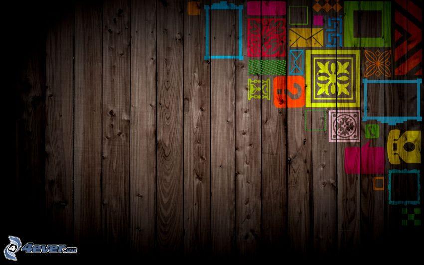 Quadrate, Holzwand