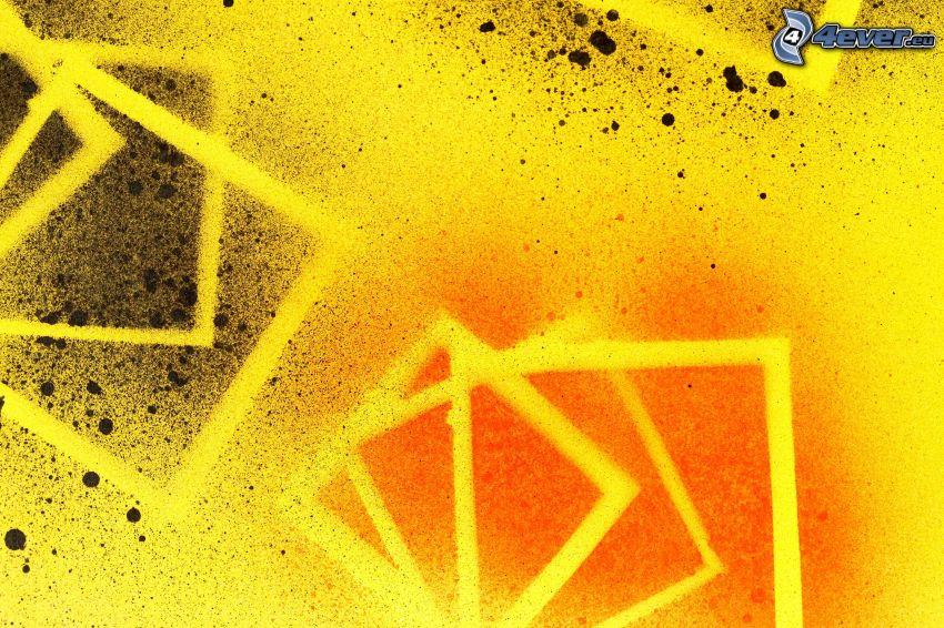 Quadrate, Kleckse, gelber Hintergrund