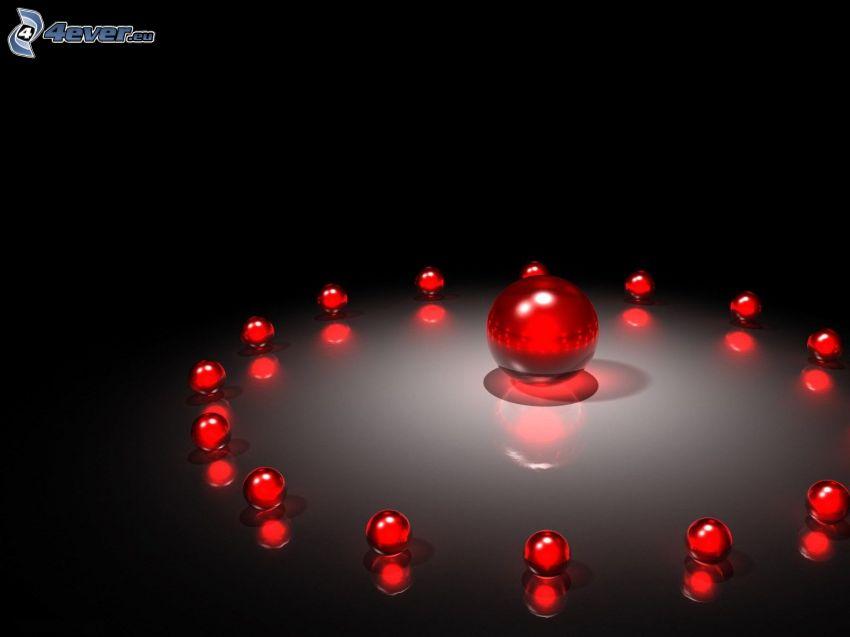 rote Kugeln, schwarzem Hintergrund