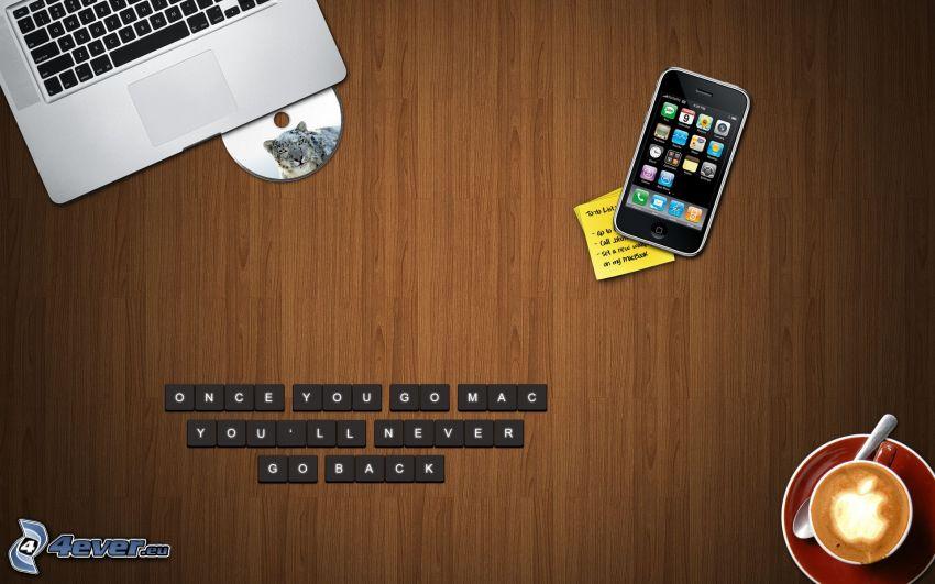 Apple, MacBook, iPhone, CD, Kaffee, logo