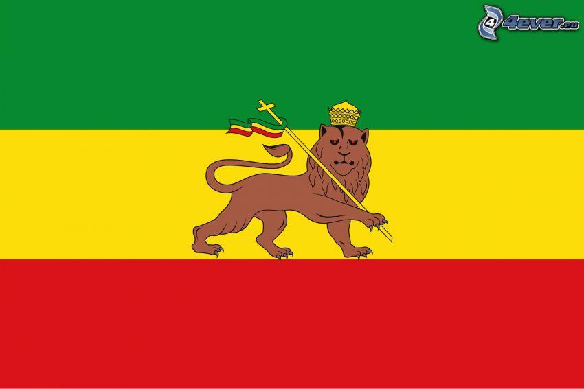 Äthiopien, Flagge, cartoon-Löwe