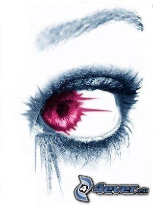Auge, rot, Kunst