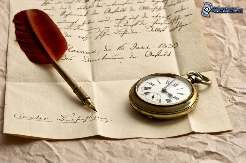 Blatt, historische Uhr, Kugelschreiber