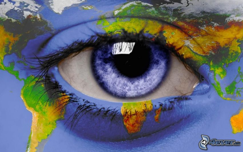 blau auge, Weltkarte