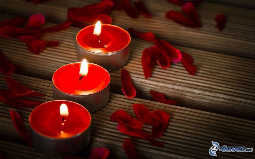 Brenner, Kerzen, Blütenblätter
