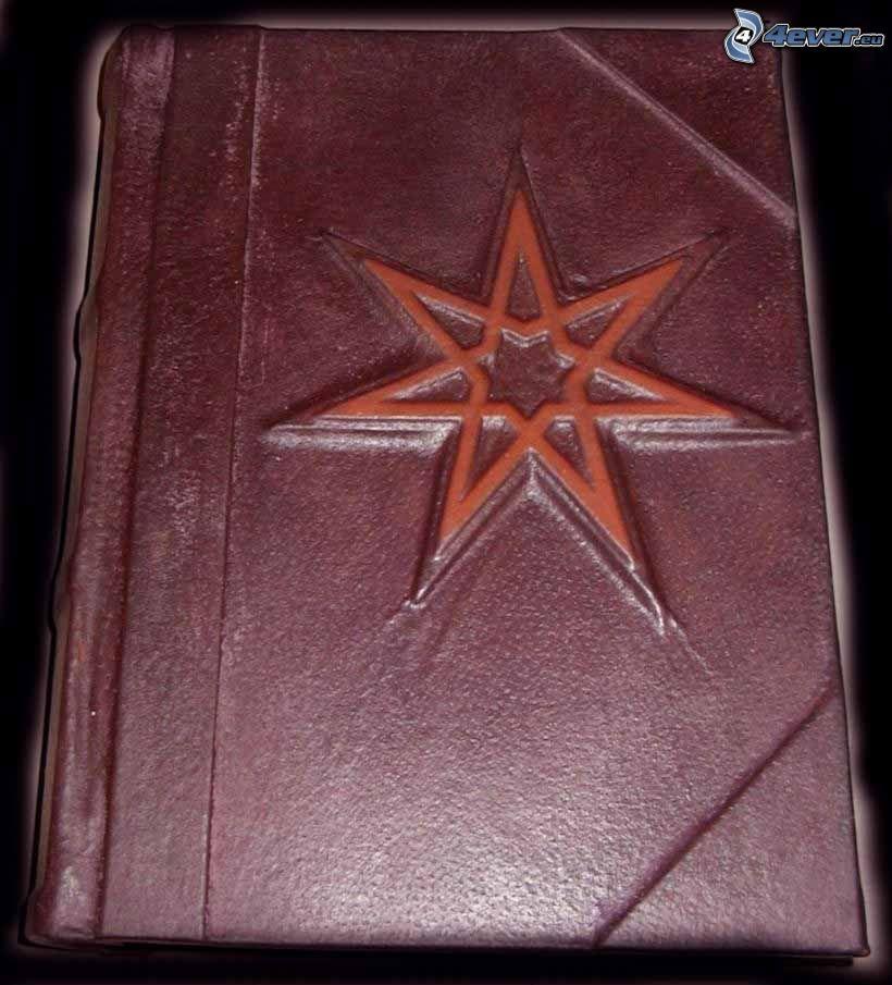 Buch, heptagram, eine Hexe