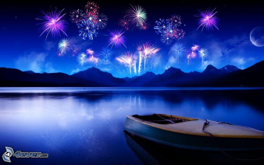 Feuerwerk, Berge, Meer, Boot auf dem Meer