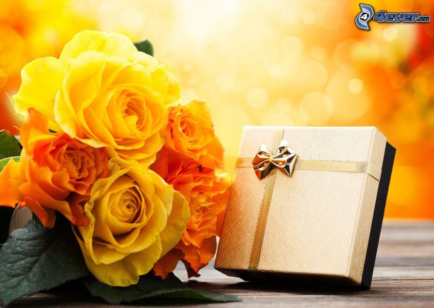 Geschenk, gelbe Blumen